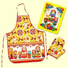 Matriochka Tablier, Serviette, Gant de cuisine set de cuisine Poupees Russes