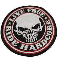 Live Free, Ride Hardcore SKULL patch - Embroidered Motorcycle/Biker Patch