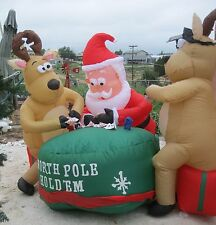 Gemmy Airblown Inflatable Santa and Deer Playing Poker 7' Long EUC Free Ship