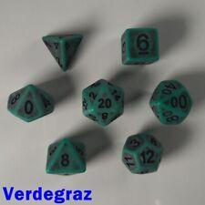 Ancient Poly 7 Dice RPG Set Verdegraz Green Dungeon Dragon Pathfinder 5E D&D HD