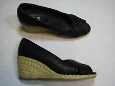 9 B Chaps Black Dakoda Gold Wedge Ladies Shoes Women Metallic Peep Open Toe Heel