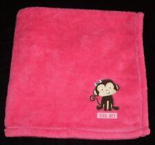 Cutie Pie Bright Hot Pink Silly Girl Monkey Baby Blanket