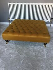 Extra Large Chesterfield Footstool/coffee Table In Gold/mustard Plush Velvet