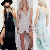 Crochet Lace Trim  Cotton Summer Beach Evening Prom Party Maxi Slip Long Dress