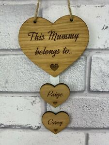 Personalised This Mummy Belongs To Hanging Heart Mother Day, Birthday Gift