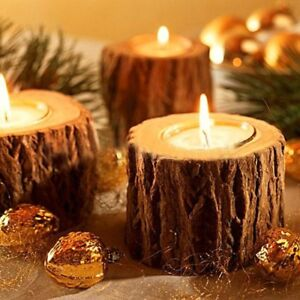 Wooden Candle Holder Natural Tea Light Candlesticks Christmas Party Home Decor