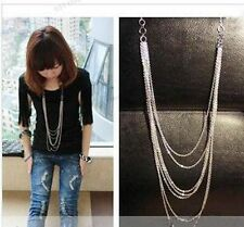 Vintage Retro Style Silver 7 layer Long Tassel Pendant Necklace Sweater Chains