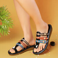 SOCOFY Women Bohemian Summer Slippers Casual Shoes Leather Flip Flops Sandals
