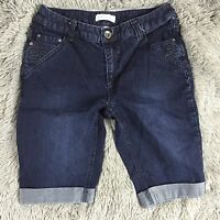 Christopher and Banks Blue Jean Cuffed Bermuda Denim Walking Shorts Womens Sz 4