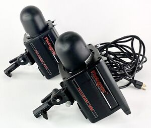 Two Photogenic PowerLights 1250DR With Flash Tubes Covers and Cords Powers On