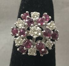 1.88 TCW Natural Ruby & Diamond 14K White Gold Ring Size 5