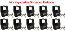 "10 x Keyed Alike Shrouded Padlock w/ Weatherproof Cover 2-1/2"" 64mm by NU-SET"