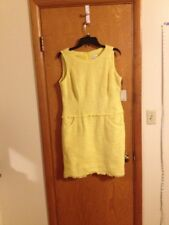 A39 Calvin Klein Women's Yellow Pocket Front Summer Dress Size 12 NWT Large