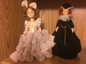 """Two Vintage 1960-70s  Dolls Plastic in long classic dresses 7"""" and 8"""""""