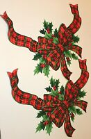"Christmas Iron On Appliques Two Large Bows 13 1/2""x14"" Hand Cut and Backed"