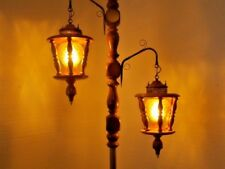 Amber Glass Wood Nautical Hurricane Swag Vintage 3 Way Switch Tension Pole Lamp