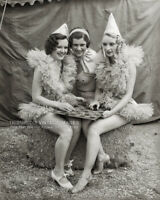 Vintage 1935 Photo Cute Circus Performer Girls Playing Checkers Ballerina Outfit