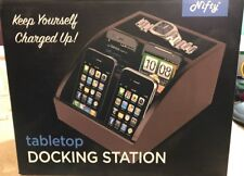 Nifty Tabletop Docking Station & Accessory Tray New In Box Brown Wooden