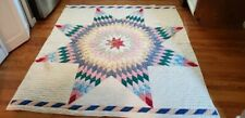 """Vintage Handmade Colorful Lone Star Quilt - 74"""" x 65"""" -No Rips or Stains"""