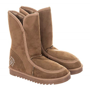 TJC GURU Womens Winter Fluffy Ankle Boots Size 8 - Sand Brown