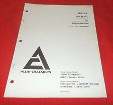 Allis-Chalmers  Turbocharger Model TO-4 Airesearch  Service Manual  VG+