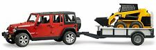 Bruder Toys JEEP Wrangler Unlimited Rubicon w/ Trailer & CAT skid steer loader