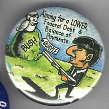 Cartoon CARICATURE 1988 pin DUKAKIS  pinback Anti BUSH QUAYLE Lower Federal DEBT