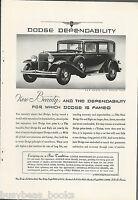 1931 DODGE advertisement, Dodge Six Sedan photo
