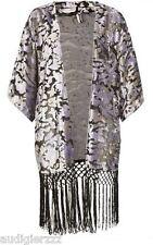P5,145 Topshop Devore Velvet Tassel  Fringe Kimono Silver US 6 UK 10