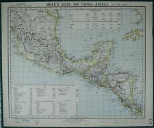 1883 Letts Map ~ South Mexico ~ Central America Guatemala Honduras Export Trade
