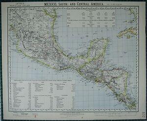1883 Letts Mappa ~ Sud Messico ~ Centrale America Guatemala Honduras Export