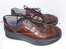 Ecco Brown Patent Leather Shoes Oxfords Laces Womens Size 38