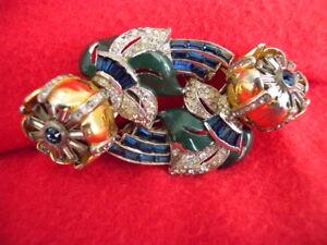RARE Coro 1938 quivering blue Camelia duette clips pin set brooch