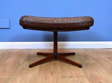 Mid Century Retro Vintage Swivel Danish Brown Leather Foot Stool Ottoman 1970s