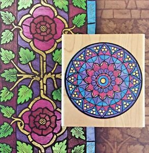 Mandala Wood Mount Rubber Stamp Stained Glass Window Graphic Floral Mosaic Art