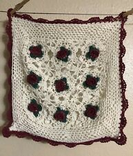 """Vintage Crochet Lace Throw Pillow Cover  15""""X14"""" Cream Red Maroon Roses Floral"""