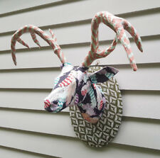 Deer head, animal, handmade, paper mache, hanging, wall scuplture, unique, decor