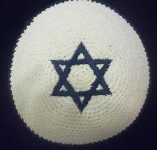 "KIPPAH Star of David Knitted Crochet Yamaka Yarmulke White Kippa Jewish Hat 5.5"""