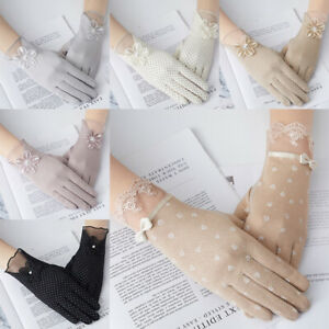 Women Thin Lace Meshsunscreen Gloves Anti-UV Breathable Ice Touch Screen Summer