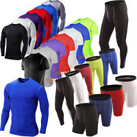 Mens Cycling Compression Under Thermal Base Layer Jersey Shirt Tops Shorts Pants