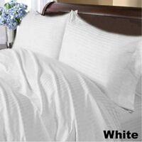 1000tc Egyptian Cotton Bedding Duvet Collection All Size White Striped
