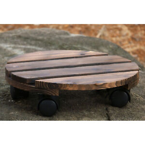 Round Wheeled Wooden Planter Caddy Movable Plant Flower Pot Stand with Wheels