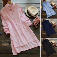 ZANZEA 8-24 Women Long Sleeve Button Up Top Shirt Tee Office Ladies Tunic Blouse