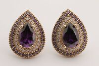 Turkish Jewelry Small Drop Amethyst Topaz 925 Sterling Silver Stud Earrings