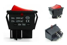10pcs Dpdt Red Indicator Light On-on Latching 6 Pin Rocker Switch Sufficient Supply Switches