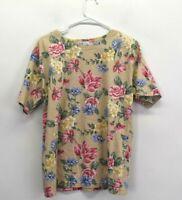 Talbots Women's Medium Short Sleeve Crew Neck Floral Print Spring/Summer T-Shirt