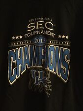 Kentucky Wildcats 2015 Sec Tournament Basketball Champions Black T-Shirt Size L