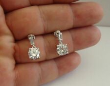 6 Ct Diamond /Size 17Mm By 7Mm 925 Sterling Silver Round Dangling Earrings W/