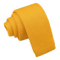 DQT Knit Knitted Plain Marigold Yellow Children Necktie Casual Formal Boys' Tie