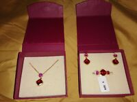 Past Times Necklace Earrings & Ring Size N 925 SILVER *